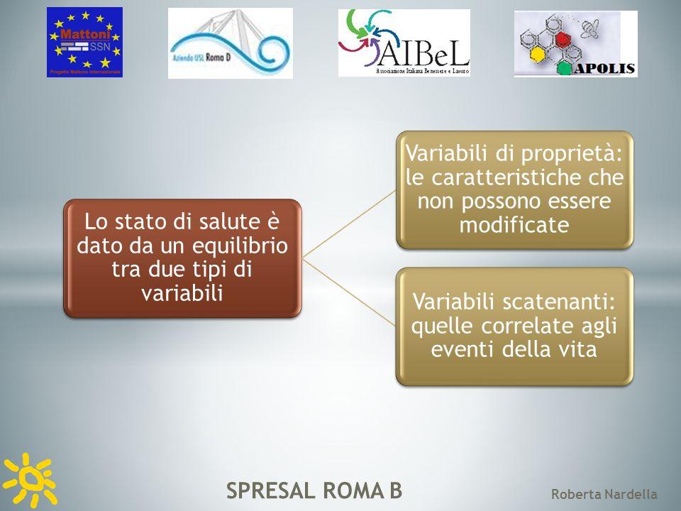 SPRESAL ROMA B Roberta Nardella Lo stato di salute è dato da un equilibrio tra due tipi di variabili Variabili di proprietà: le caratteristiche che non possono essere modificate Variabili scatenanti: quelle correlate agli eventi della vita