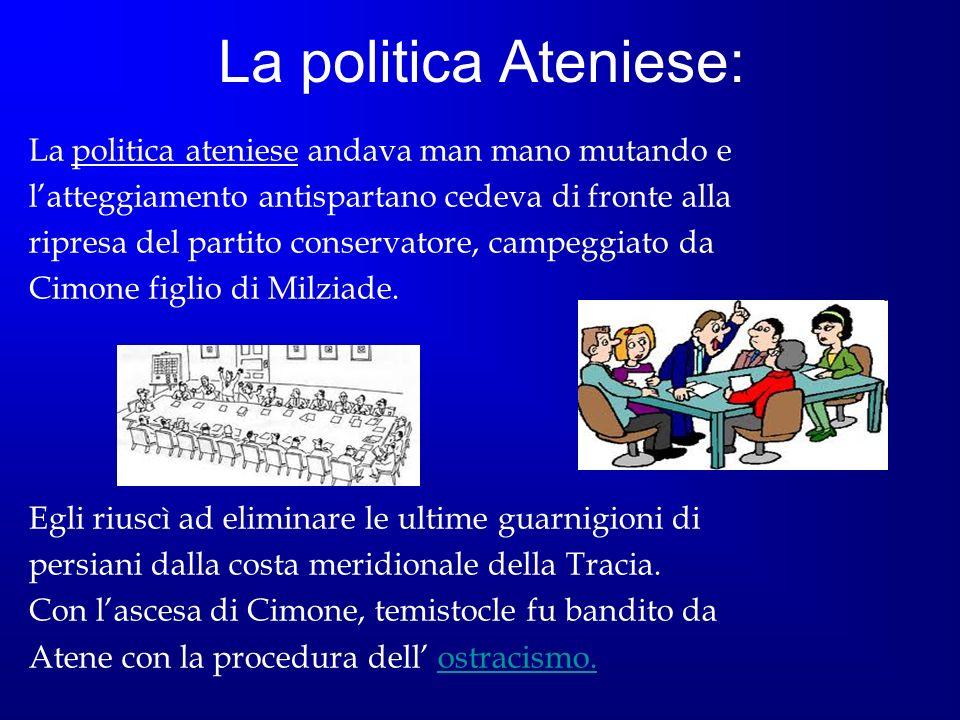 La politica Ateniese: La politica ateniese andava man mano mutando e latteggiamento antispartano cedeva di fronte alla ripresa del partito conservator