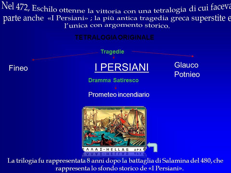 La trilogia fu rappresentata 8 anni dopo la battaglia di Salamina del 480, che rappresenta lo sfondo storico de «I Persiani». Glauco Potnieo TETRALOGI