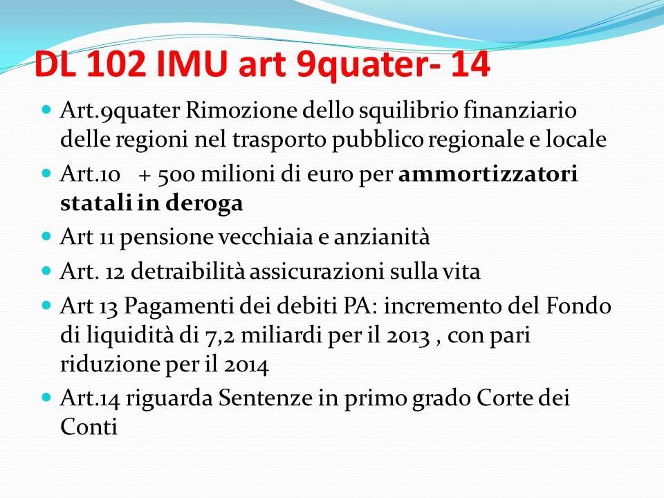 DL 102 IMU art 9quater- 14 Art.9quater Rimozione dello squilibrio finanziario delle regioni nel trasporto pubblico regionale e locale Art.10 + 500 milioni di euro per ammortizzatori statali in deroga Art 11 pensione vecchiaia e anzianità Art.