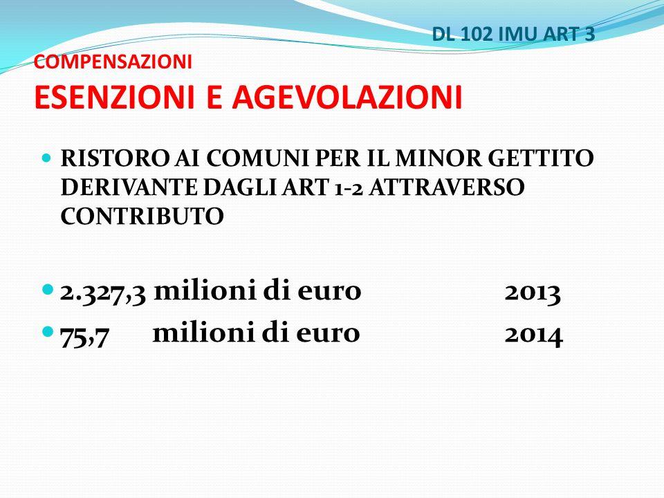 DL 102 IMU ART 3 COMPENSAZIONI ESENZIONI E AGEVOLAZIONI RISTORO AI COMUNI PER IL MINOR GETTITO DERIVANTE DAGLI ART 1-2 ATTRAVERSO CONTRIBUTO 2.327,3 milioni di euro 2013 75,7 milioni di euro 2014