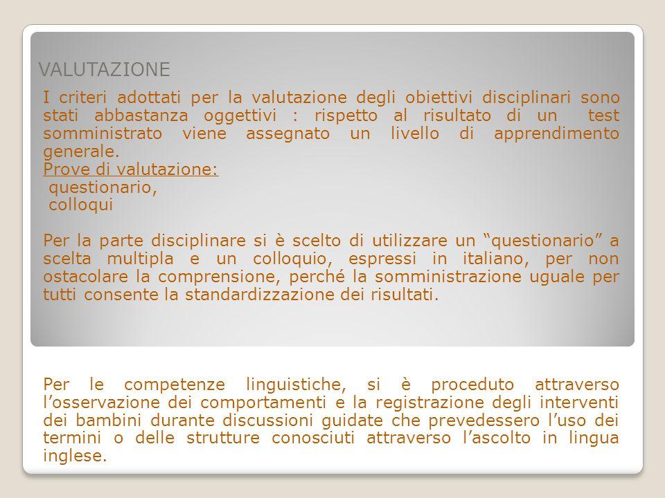 VALUTAZIONE I criteri adottati per la valutazione degli obiettivi disciplinari sono stati abbastanza oggettivi : rispetto al risultato di un test somm