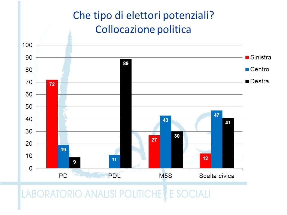 Che tipo di elettori potenziali? Collocazione politica