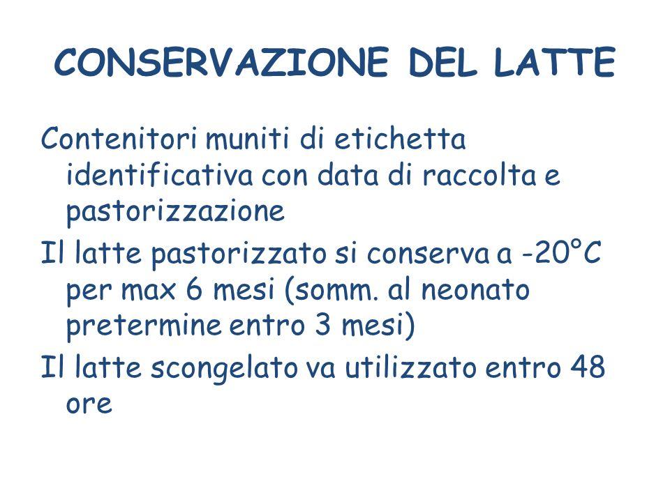 CONSERVAZIONE DEL LATTE Contenitori muniti di etichetta identificativa con data di raccolta e pastorizzazione Il latte pastorizzato si conserva a -20°