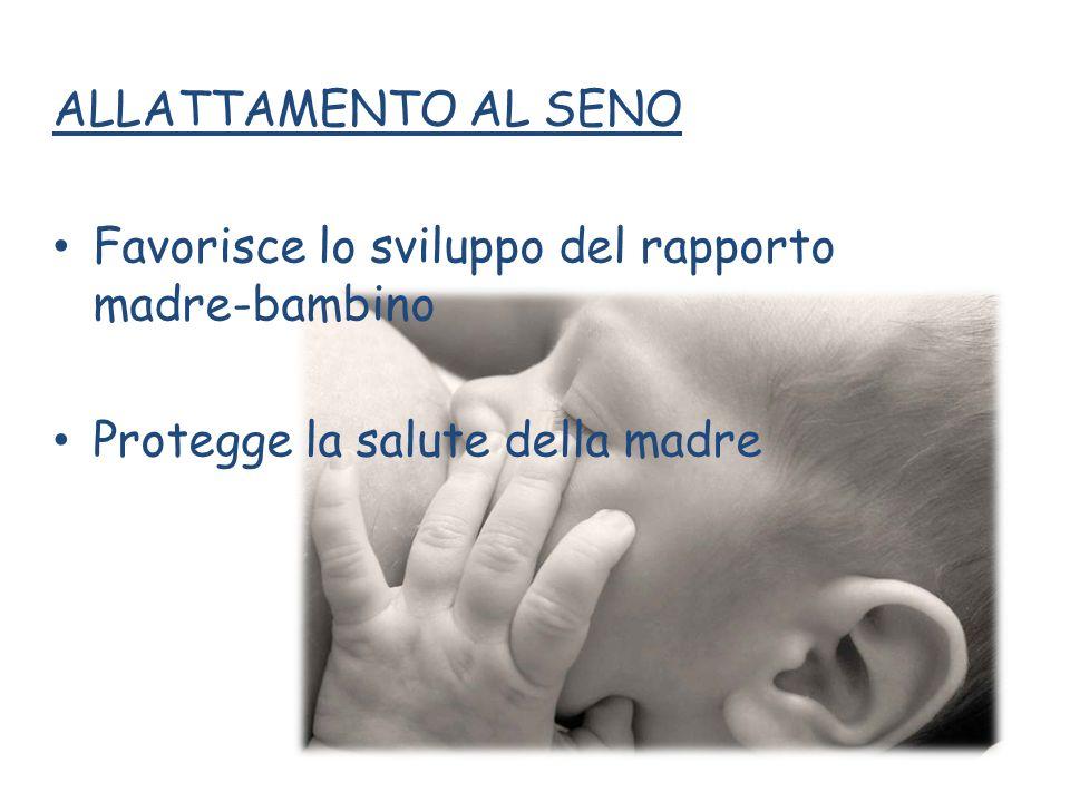 ALLATTAMENTO AL SENO Favorisce lo sviluppo del rapporto madre-bambino Protegge la salute della madre