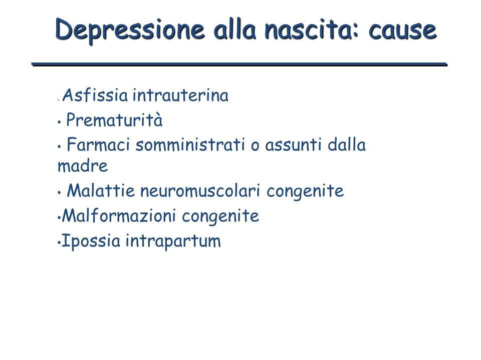 Depressione alla nascita: cause Asfissia intrauterina Prematurità Farmaci somministrati o assunti dalla madre Malattie neuromuscolari congenite Malfor