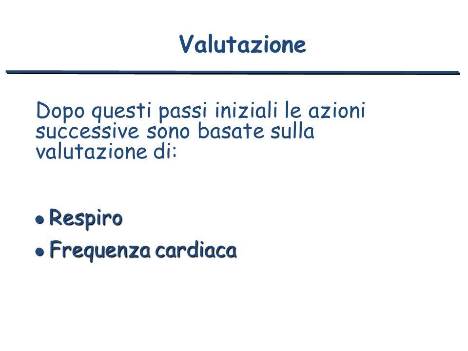 Valutazione Dopo questi passi iniziali le azioni successive sono basate sulla valutazione di: l Respiro l Frequenza cardiaca