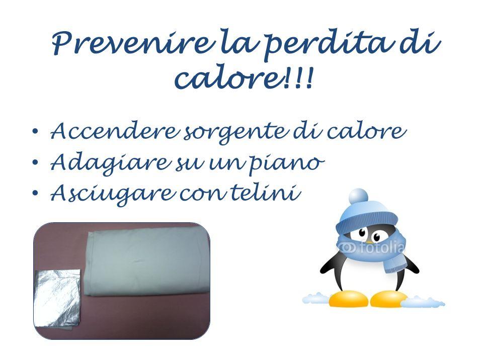 Prevenire la perdita di calore!!! Accendere sorgente di calore Adagiare su un piano Asciugare con telini