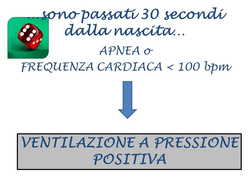 …sono passati 30 secondi dalla nascita… APNEA o FREQUENZA CARDIACA < 100 bpm VENTILAZIONE A PRESSIONE POSITIVA