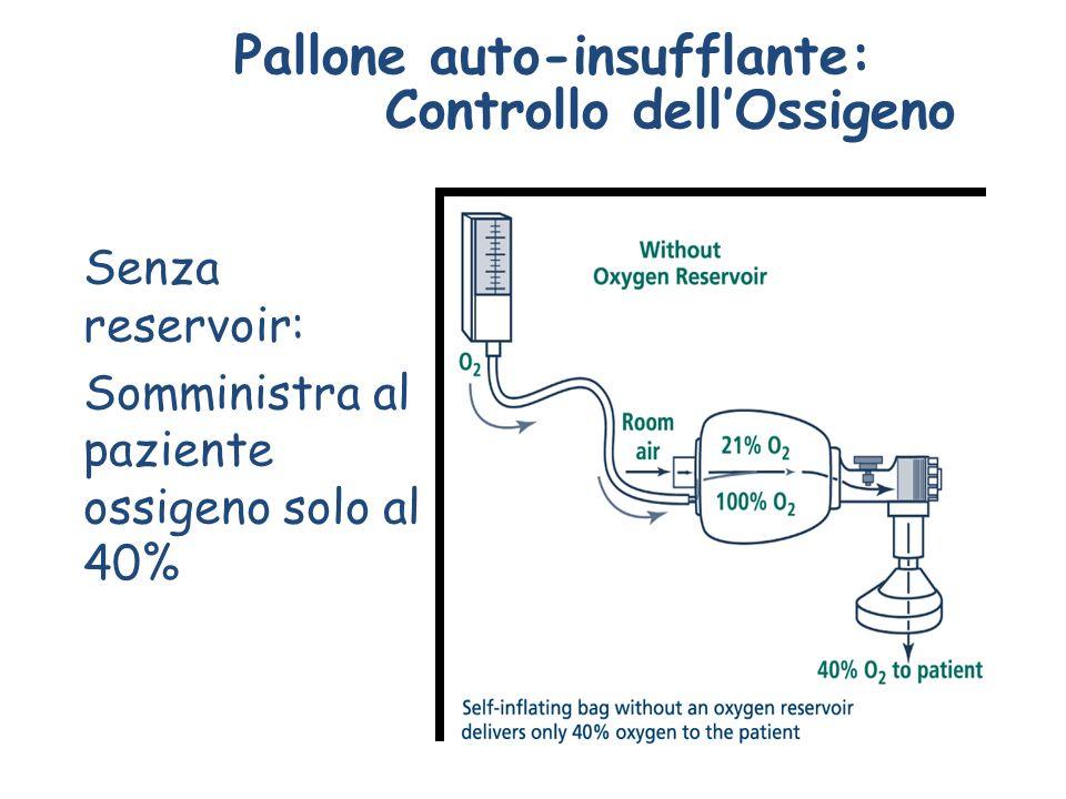 Pallone auto-insufflante: Controllo dellOssigeno Senza reservoir: Somministra al paziente ossigeno solo al 40%