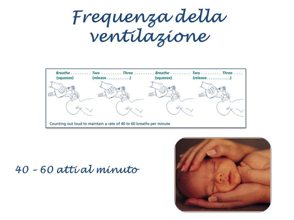 Frequenza della ventilazione 40 – 60 atti al minuto
