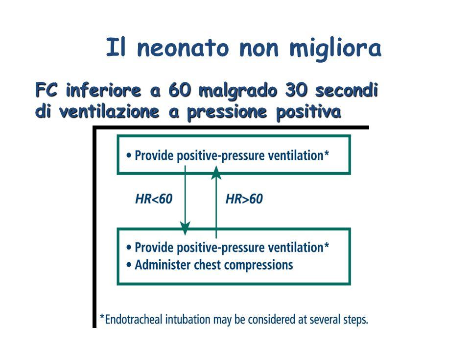 Il neonato non migliora FC inferiore a 60 malgrado 30 secondi di ventilazione a pressione positiva