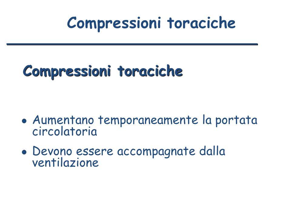 Compressioni toraciche l Aumentano temporaneamente la portata circolatoria l Devono essere accompagnate dalla ventilazione Compressioni toraciche