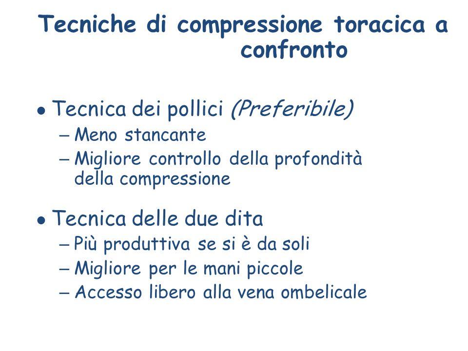 Tecniche di compressione toracica a confronto l Tecnica dei pollici (Preferibile) – Meno stancante – Migliore controllo della profondità della compres