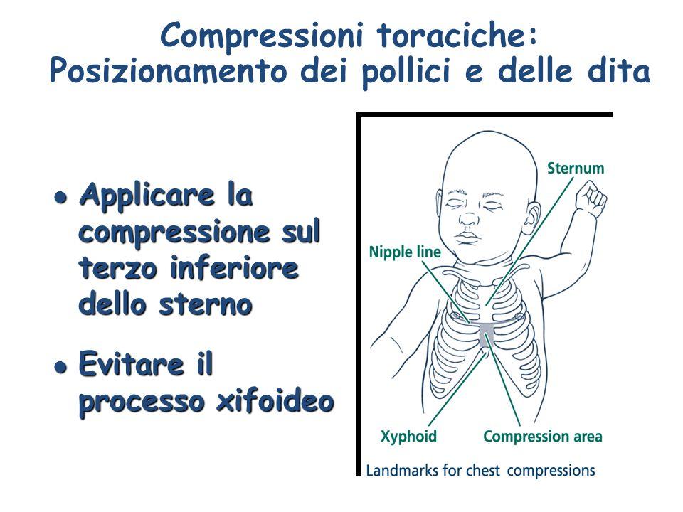 Compressioni toraciche: Posizionamento dei pollici e delle dita l Applicare la compressione sul terzo inferiore dello sterno l Evitare il processo xif