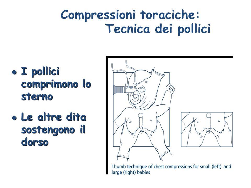 Compressioni toraciche: Tecnica dei pollici l I pollici comprimono lo sterno l Le altre dita sostengono il dorso