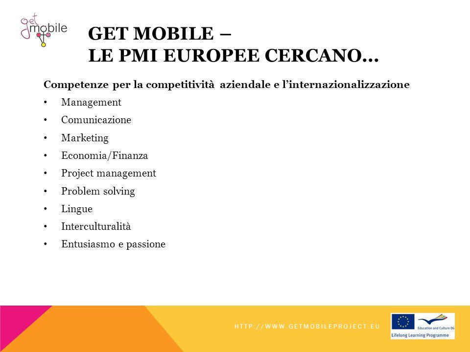 GET MOBILE – LE PMI EUROPEE CERCANO... Competenze per la competitività aziendale e linternazionalizzazione Management Comunicazione Marketing Economia