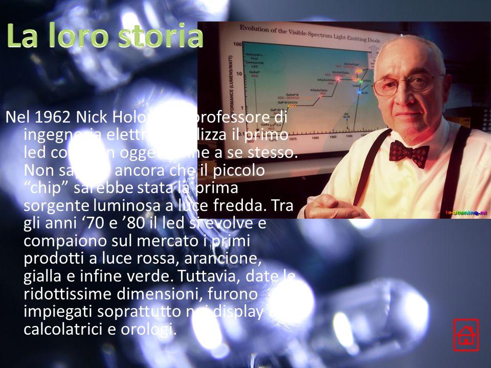 Nel 1962 Nick Holonyak, professore di ingegneria elettrica realizza il primo led come un oggetto fine a se stesso. Non sapeva ancora che il piccolo ch