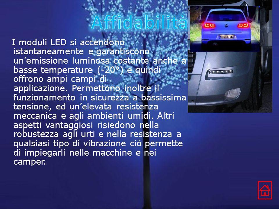 I moduli LED si accendono istantaneamente e garantiscono unemissione luminosa costante anche a basse temperature (-20°) e quindi offrono ampi campi di