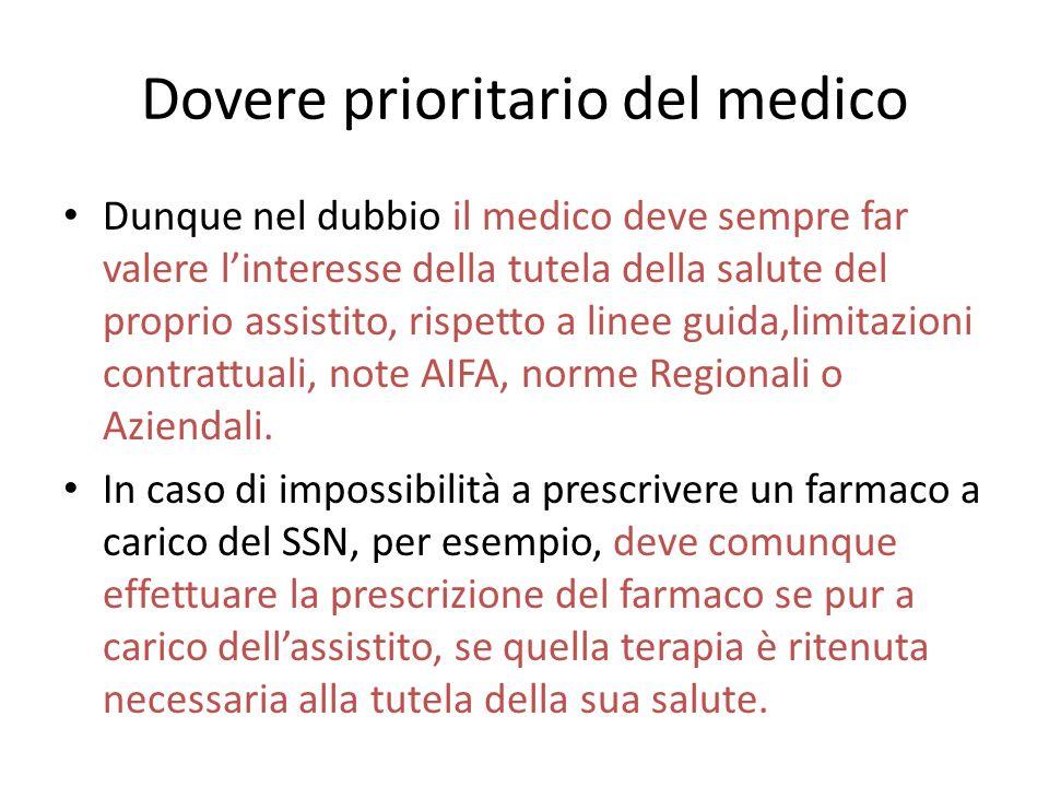 Dovere prioritario del medico Dunque nel dubbio il medico deve sempre far valere linteresse della tutela della salute del proprio assistito, rispetto a linee guida,limitazioni contrattuali, note AIFA, norme Regionali o Aziendali.