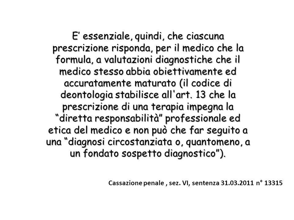 E essenziale, quindi, che ciascuna prescrizione risponda, per il medico che la formula, a valutazioni diagnostiche che il medico stesso abbia obiettivamente ed accuratamente maturato (il codice di deontologia stabilisce all art.