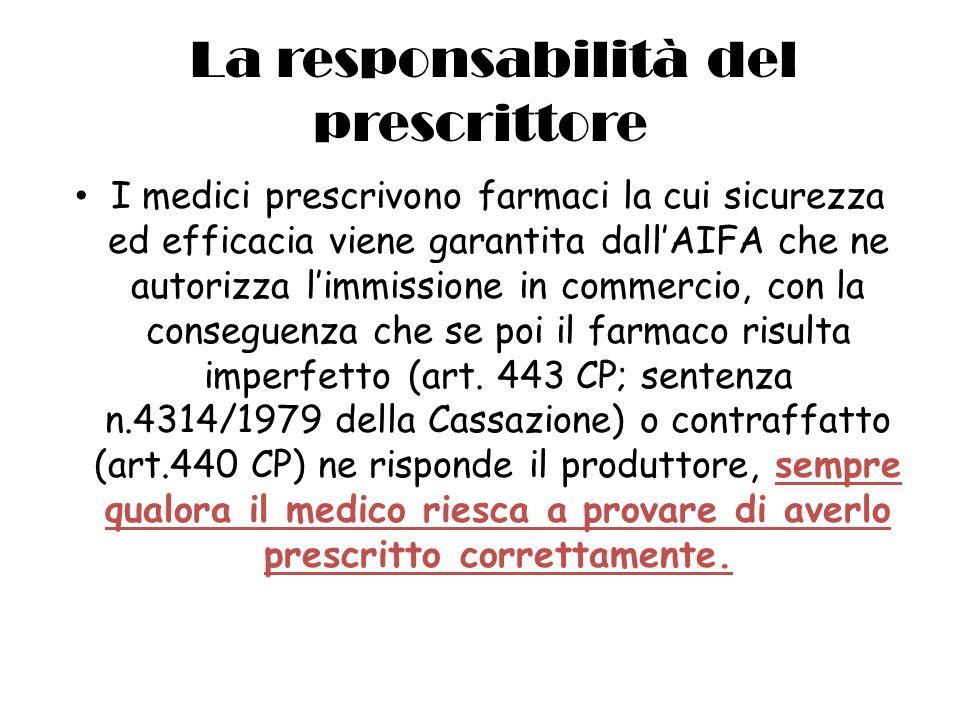 La responsabilità del prescrittore I medici prescrivono farmaci la cui sicurezza ed efficacia viene garantita dallAIFA che ne autorizza limmissione in commercio, con la conseguenza che se poi il farmaco risulta imperfetto (art.