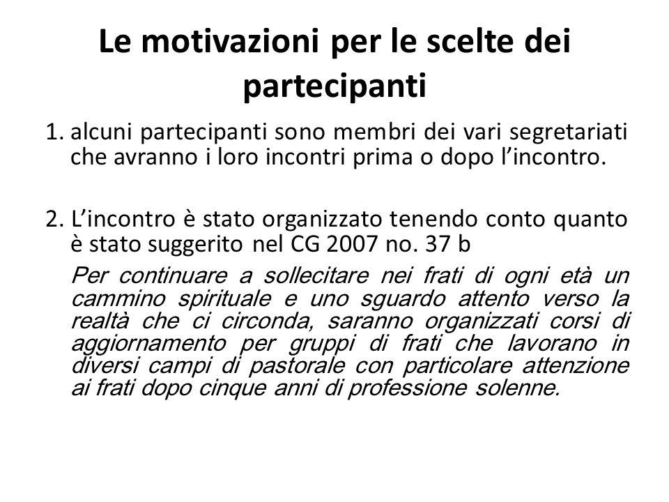 Le motivazioni per le scelte dei partecipanti 1.alcuni partecipanti sono membri dei vari segretariati che avranno i loro incontri prima o dopo lincontro.