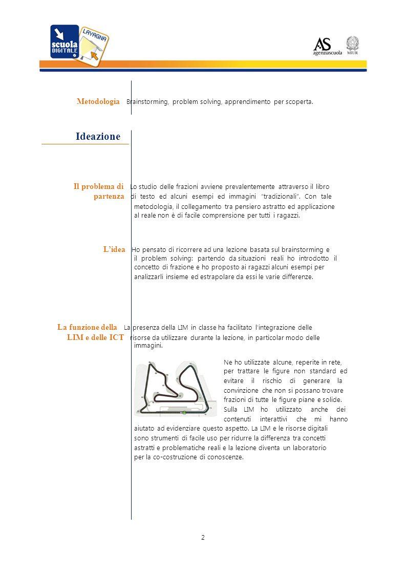Metodologia Brainstorming, problem solving, apprendimento per scoperta. Ideazione Il problema di Lo studio delle frazioni avviene prevalentemente attr