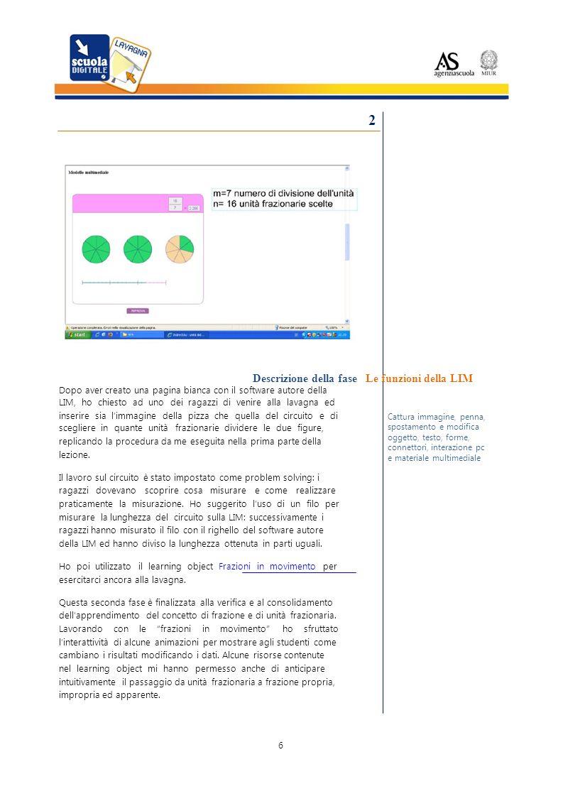 Cattura penna, 3 – Il colore Descrizione della fase Per lultima fase della lezione ho riutilizzato la schermata con limmagine della pizza suddivisa in sei pezzi e poi, in successione: Le funzioni 1.