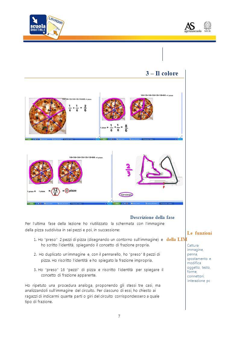 Cattura penna, 3 – Il colore Descrizione della fase Per lultima fase della lezione ho riutilizzato la schermata con limmagine della pizza suddivisa in