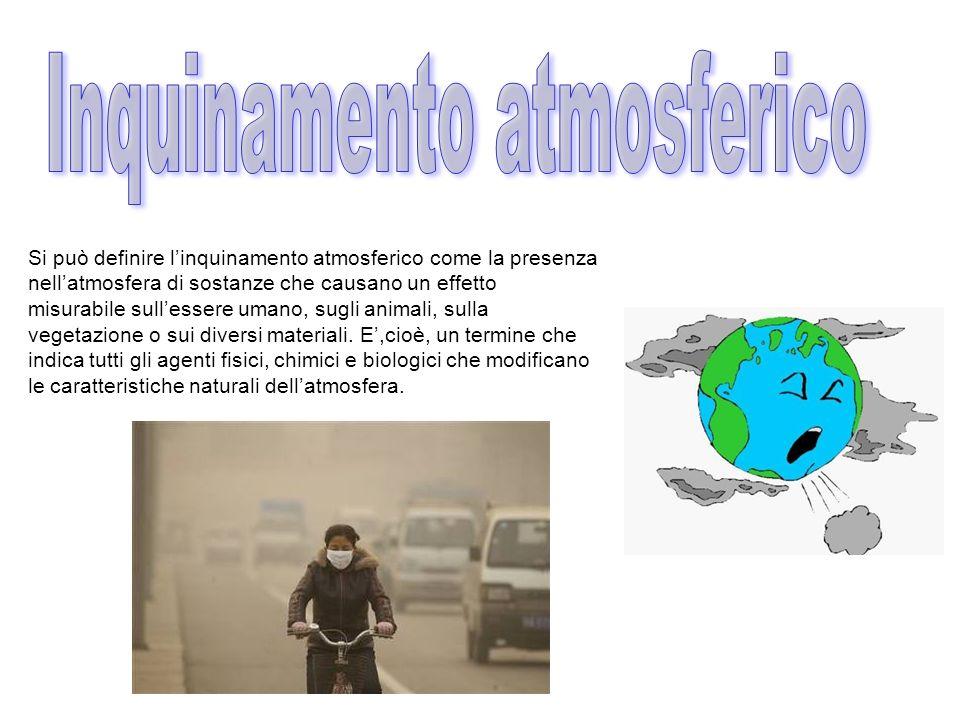 Si può definire linquinamento atmosferico come la presenza nellatmosfera di sostanze che causano un effetto misurabile sullessere umano, sugli animali