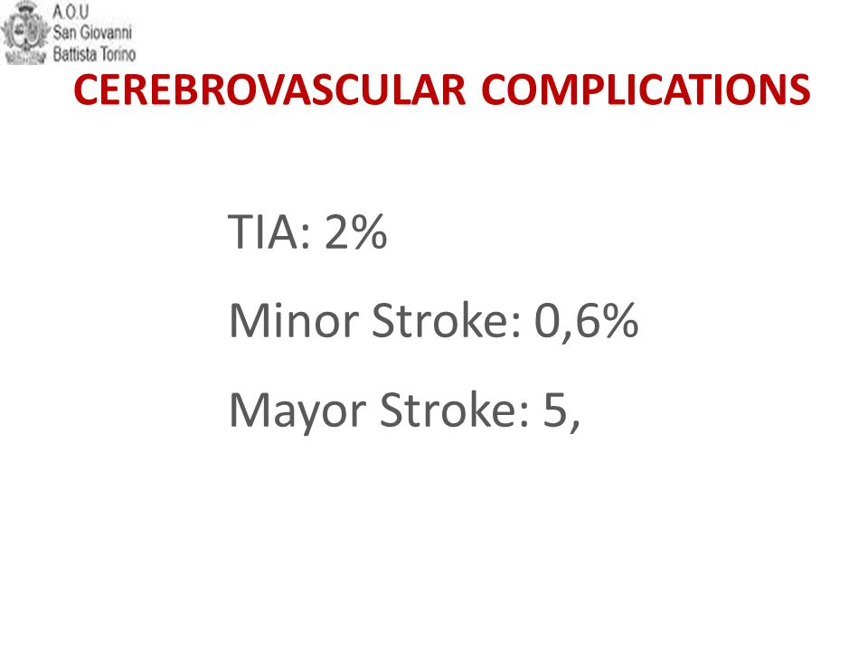 TIA: 2% Minor Stroke: 0,6% Mayor Stroke: 5,4% CEREBROVASCULAR COMPLICATIONS