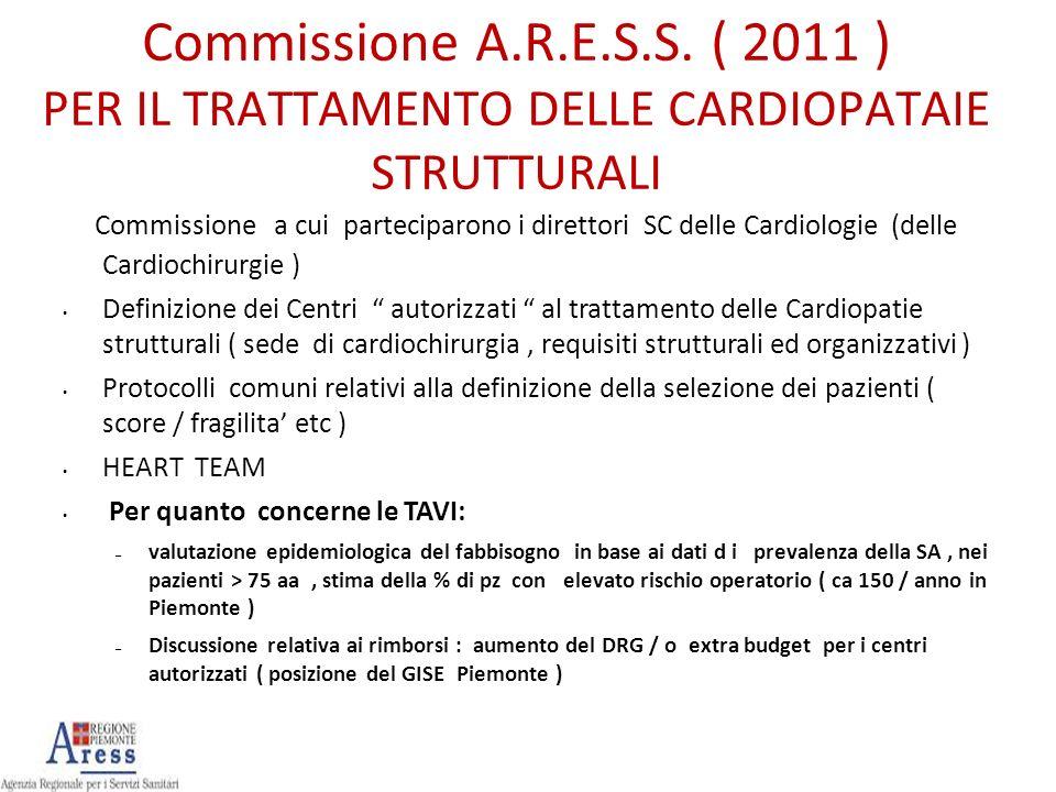 Commissione A.R.E.S.S. ( 2011 ) PER IL TRATTAMENTO DELLE CARDIOPATAIE STRUTTURALI Commissione a cui parteciparono i direttori SC delle Cardiologie (de