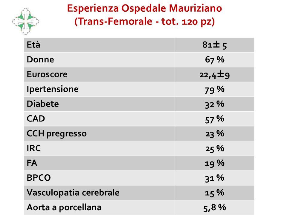 Età 81± 5 Donne67 % Euroscore 22,4±9 Ipertensione79 % Diabete32 % CAD57 % CCH pregresso23 % IRC25 % FA19 % BPCO31 % Vasculopatia cerebrale15 % Aorta a