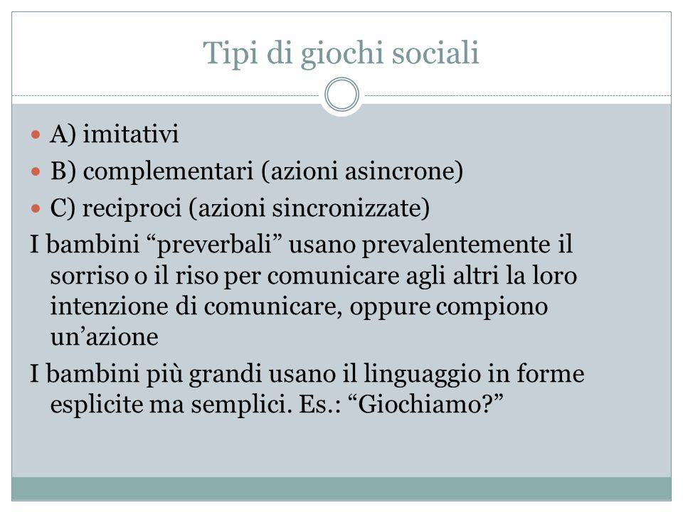 Tipi di giochi sociali A) imitativi B) complementari (azioni asincrone) C) reciproci (azioni sincronizzate) I bambini preverbali usano prevalentemente