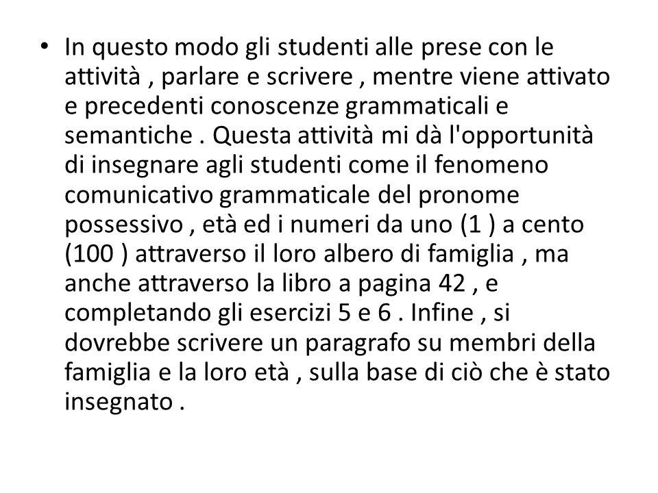 In questo modo gli studenti alle prese con le attività, parlare e scrivere, mentre viene attivato e precedenti conoscenze grammaticali e semantiche. Q