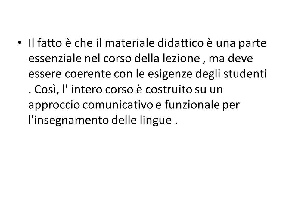 Il fatto è che il materiale didattico è una parte essenziale nel corso della lezione, ma deve essere coerente con le esigenze degli studenti.