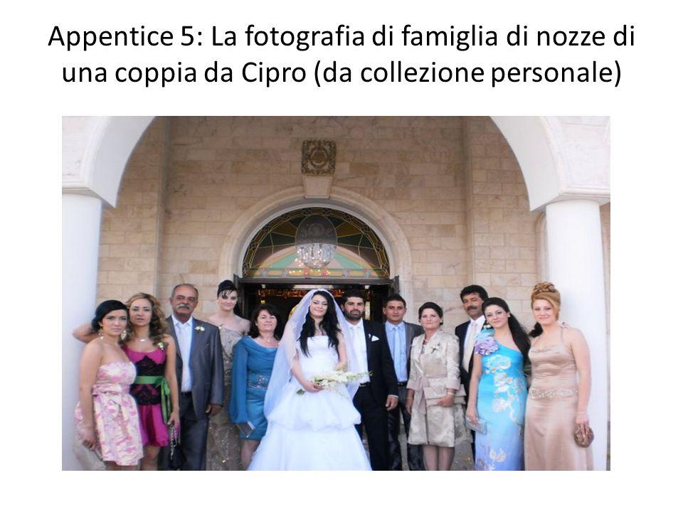 Appentice 5: La fotografia di famiglia di nozze di una coppia da Cipro (da collezione personale)