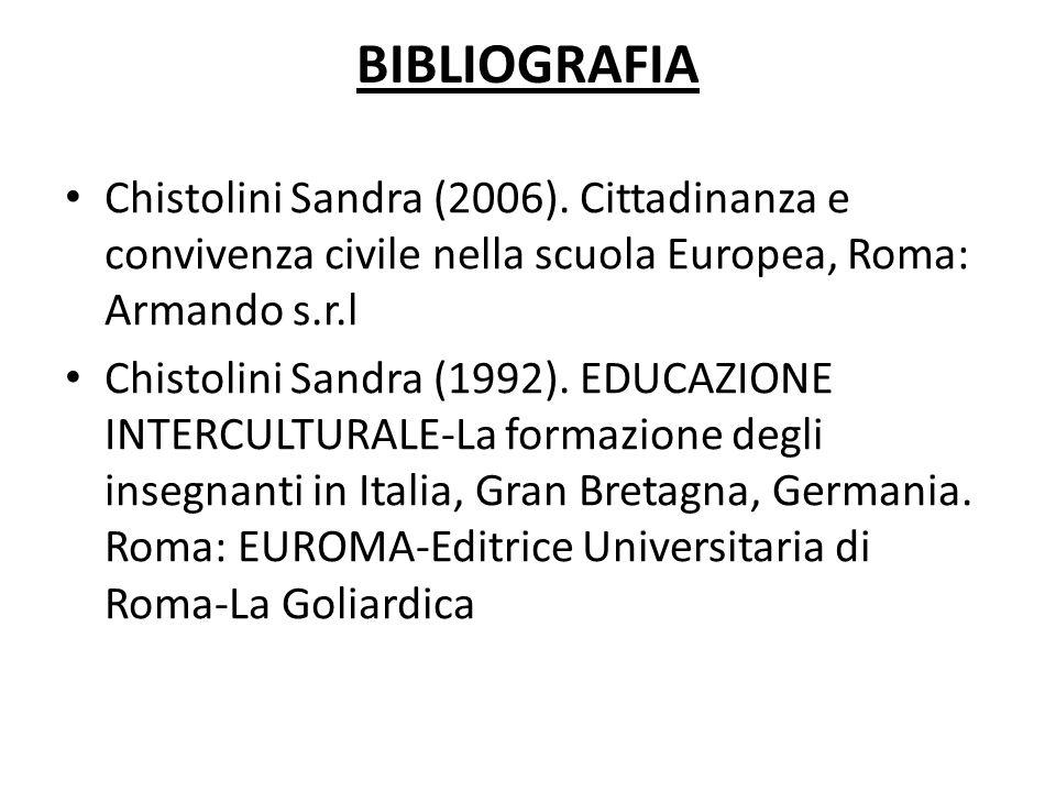 BIBLIOGRAFIA Chistolini Sandra (2006). Cittadinanza e convivenza civile nella scuola Europea, Roma: Armando s.r.l Chistolini Sandra (1992). EDUCAZIONE