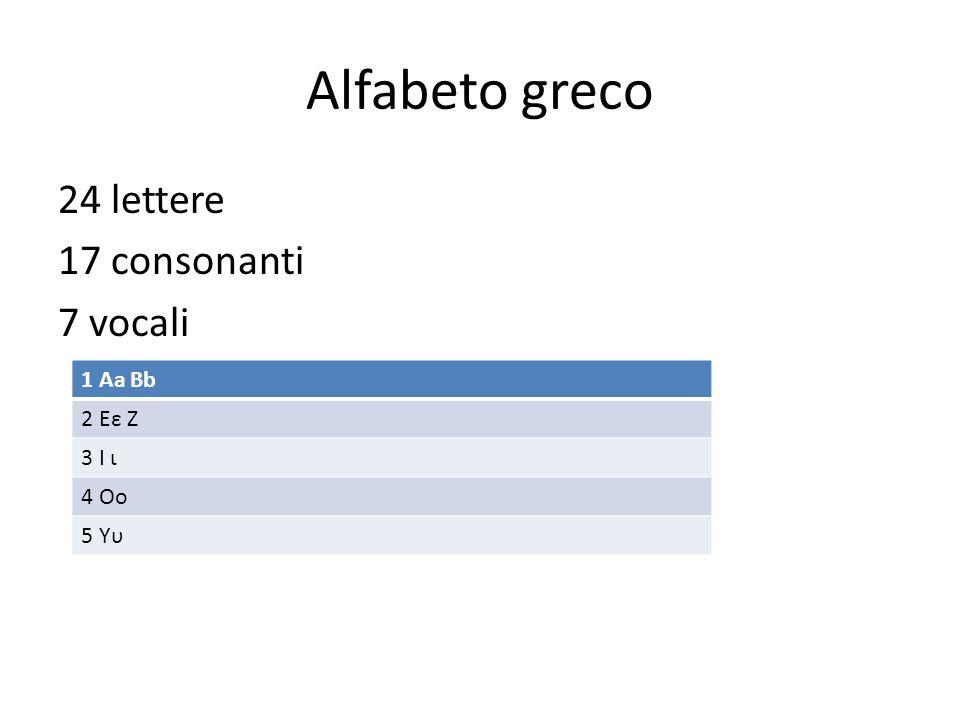 Alfabeto greco 24 lettere 17 consonanti 7 vocali 1 Aa Bb 2 Eε Ζ 3 I ι 4 Oo 5 Yυ