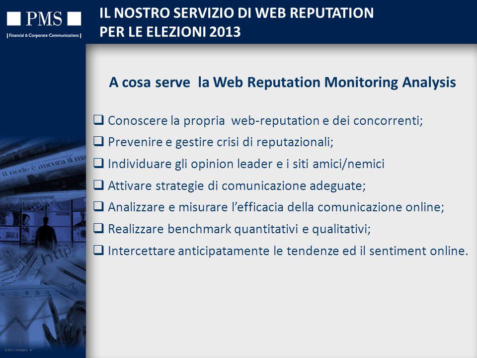 © 2012 eXtrapola srl IL NOSTRO SERVIZIO DI WEB REPUTATION PER LE ELEZIONI 2013 A cosa serve la Web Reputation Monitoring Analysis Conoscere la propria