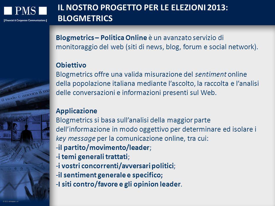 © 2012 eXtrapola srl IL NOSTRO PROGETTO PER LE ELEZIONI 2013: BLOGMETRICS © 2012 eXtrapola srl Blogmetrics – Politica Online è un avanzato servizio di