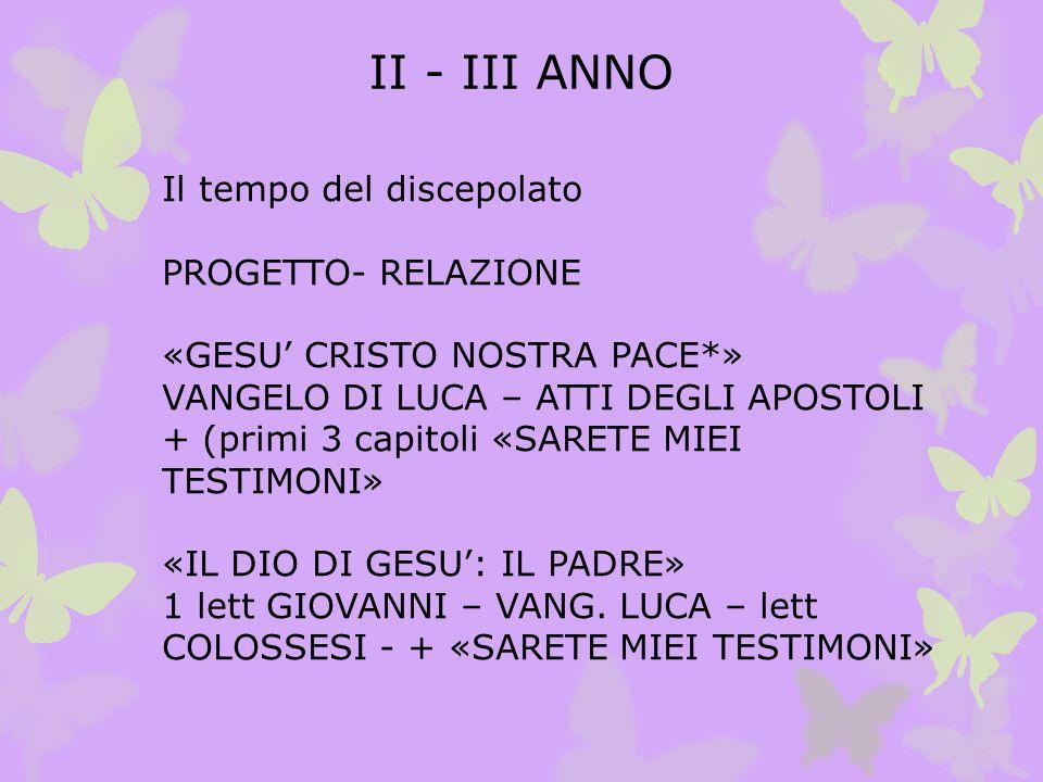II - III ANNO Il tempo del discepolato PROGETTO- RELAZIONE «GESU CRISTO NOSTRA PACE*» VANGELO DI LUCA – ATTI DEGLI APOSTOLI + (primi 3 capitoli «SARET