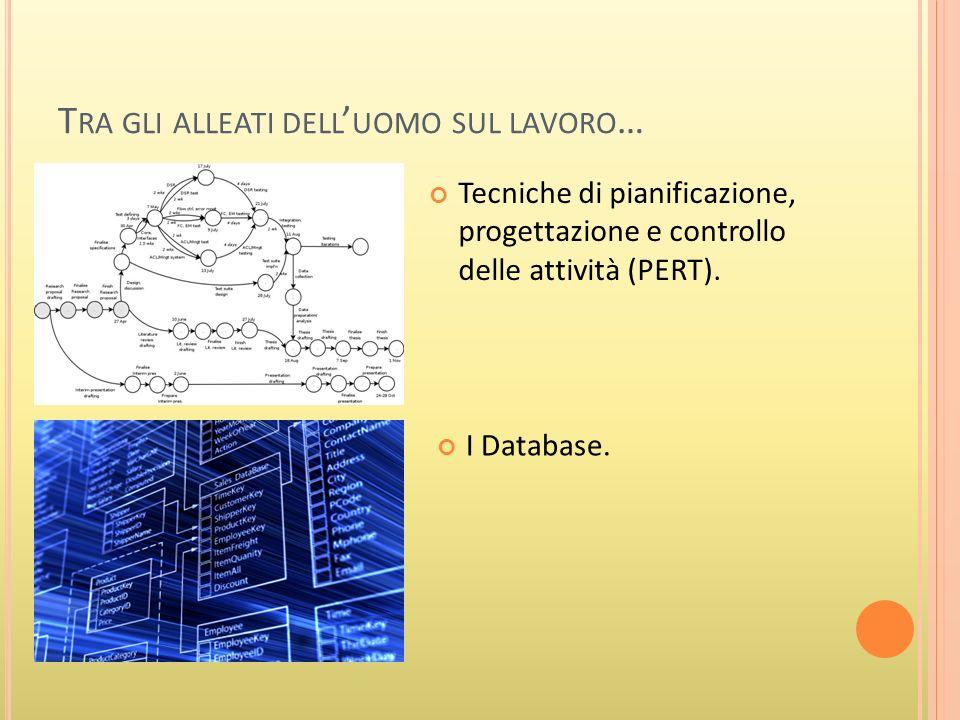 T RA GLI ALLEATI DELL UOMO SUL LAVORO … Tecniche di pianificazione, progettazione e controllo delle attività (PERT).
