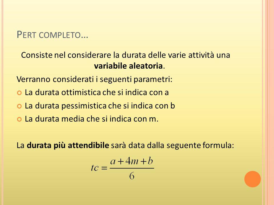 P ERT COMPLETO … Consiste nel considerare la durata delle varie attività una variabile aleatoria.