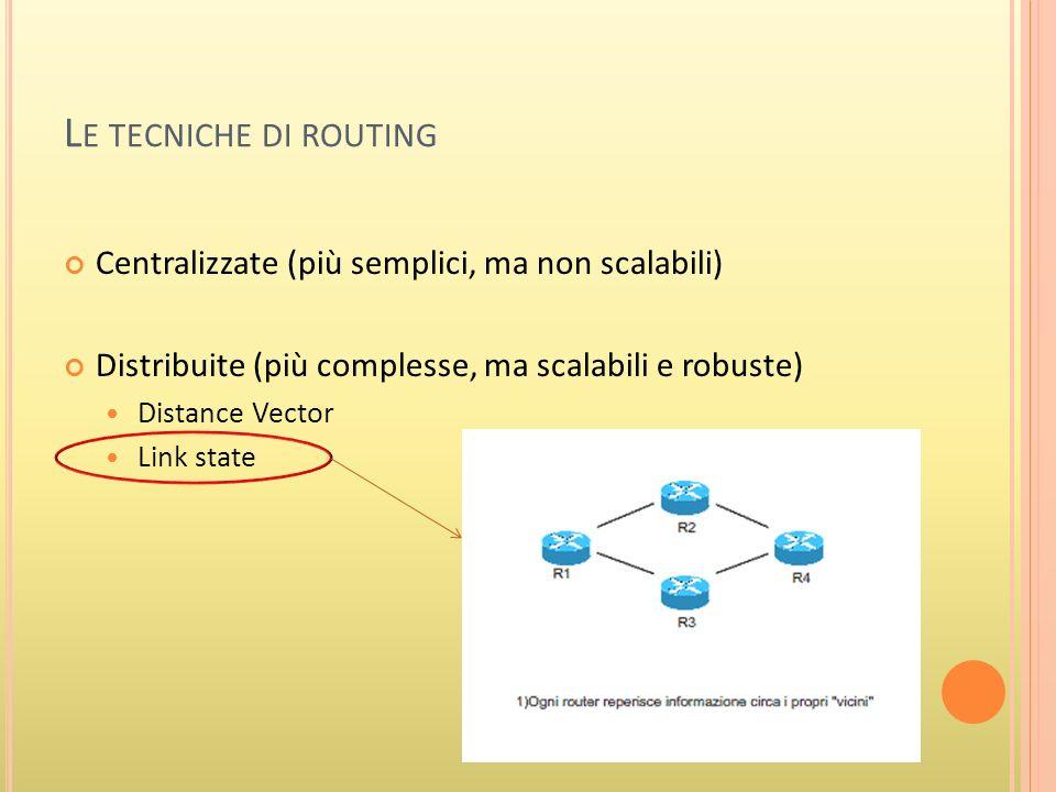 L E TECNICHE DI ROUTING Centralizzate (più semplici, ma non scalabili) Distribuite (più complesse, ma scalabili e robuste) Distance Vector Link state