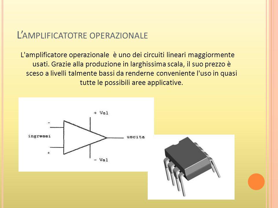 L AMPLIFICATOTRE OPERAZIONALE L amplificatore operazionale è uno dei circuiti lineari maggiormente usati.