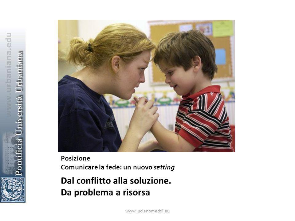 Posizione Comunicare la fede: un nuovo setting Dal conflitto alla soluzione.