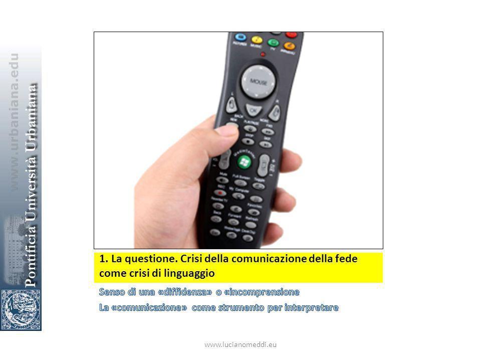 1. La questione. Crisi della comunicazione della fede come crisi di linguaggio www.lucianomeddi.eu