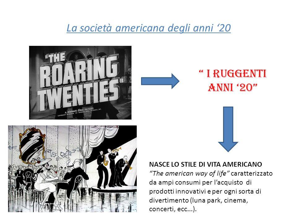 La società americana degli anni 20 I ruggenti anni 20 NASCE LO STILE DI VITA AMERICANO The american way of life caratterizzato da ampi consumi per lac